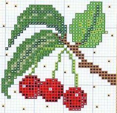 punto croce,ciliegie a punto croce,schema filet ciliegie,filet ciliegie,uncinetto ciliegie