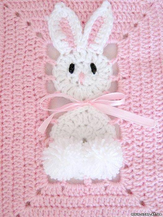 Conosciuto Copertina all'uncinetto per neonato con coniglietti | Punti e Spunti … SR61