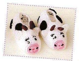 Uncinetto per neonati scarpine a forma di mucca.jpg