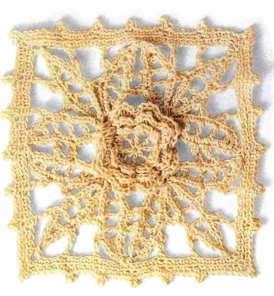 Uncinetto fiorito – Motivo a girasole  Punti e Spunti