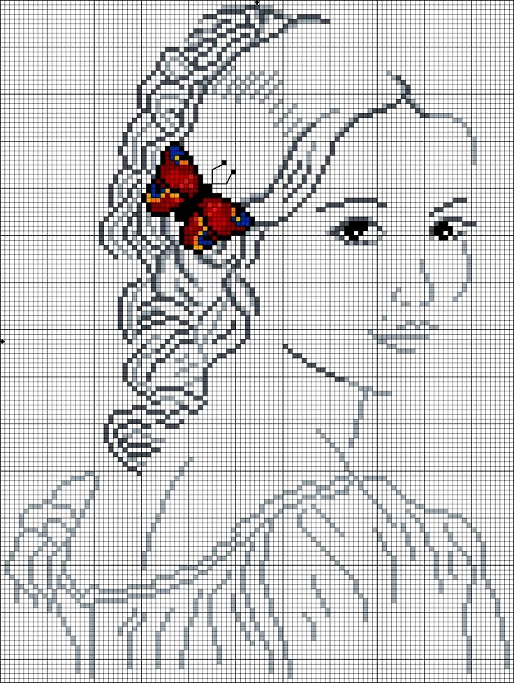 donna con la farfalla- schema a punto croce