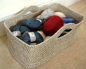 cesta in corda e uncinetto fai da te