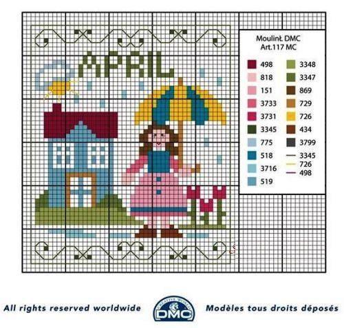Punto croce schemi- i mesi dell'anno DMC (4)