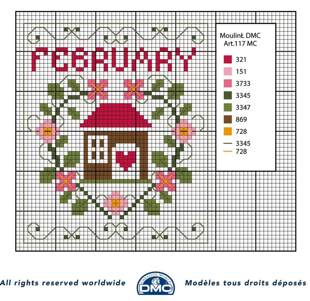 Punto croce schemi- i mesi dell'anno DMC (6)