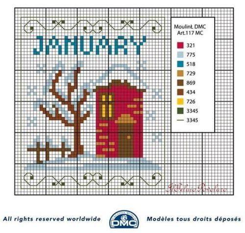 Punto croce schemi- i mesi dell'anno DMC (7)