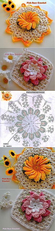 Tutorial piastrelle con fiori uncinetto crochet (4)