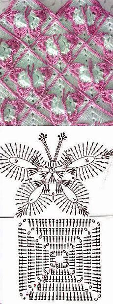copertina neonato con farfalle rosa-schema uncinetto