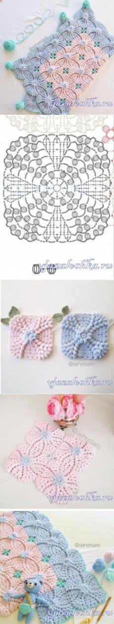 copertina rosa azzurro in lana per carrozzina uncinetto crochet (2)