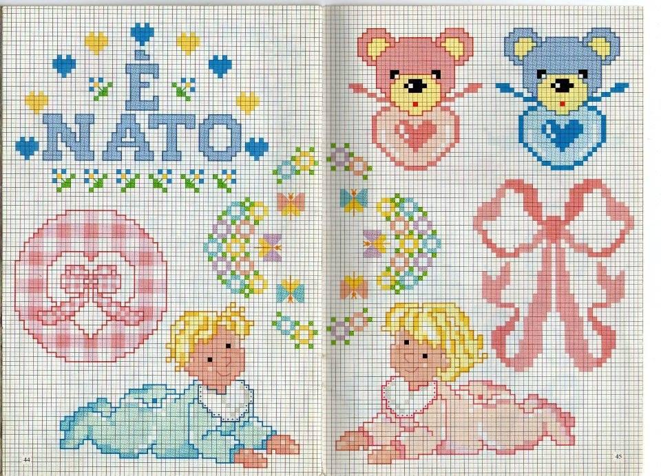 raccolta di schemi per banbini a punto croce con orsetti-paperelle-api e pecorelle (27)