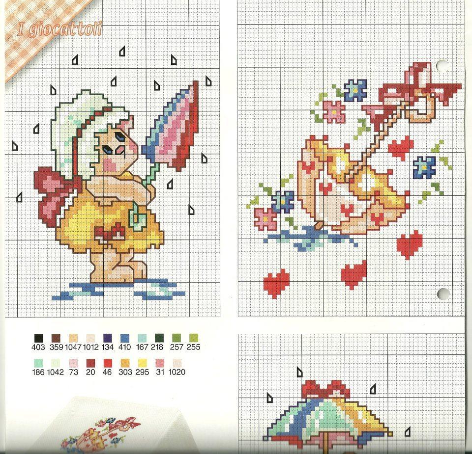 raccolta di schemi per banbini a punto croce con orsetti-paperelle-api e pecorelle (7)