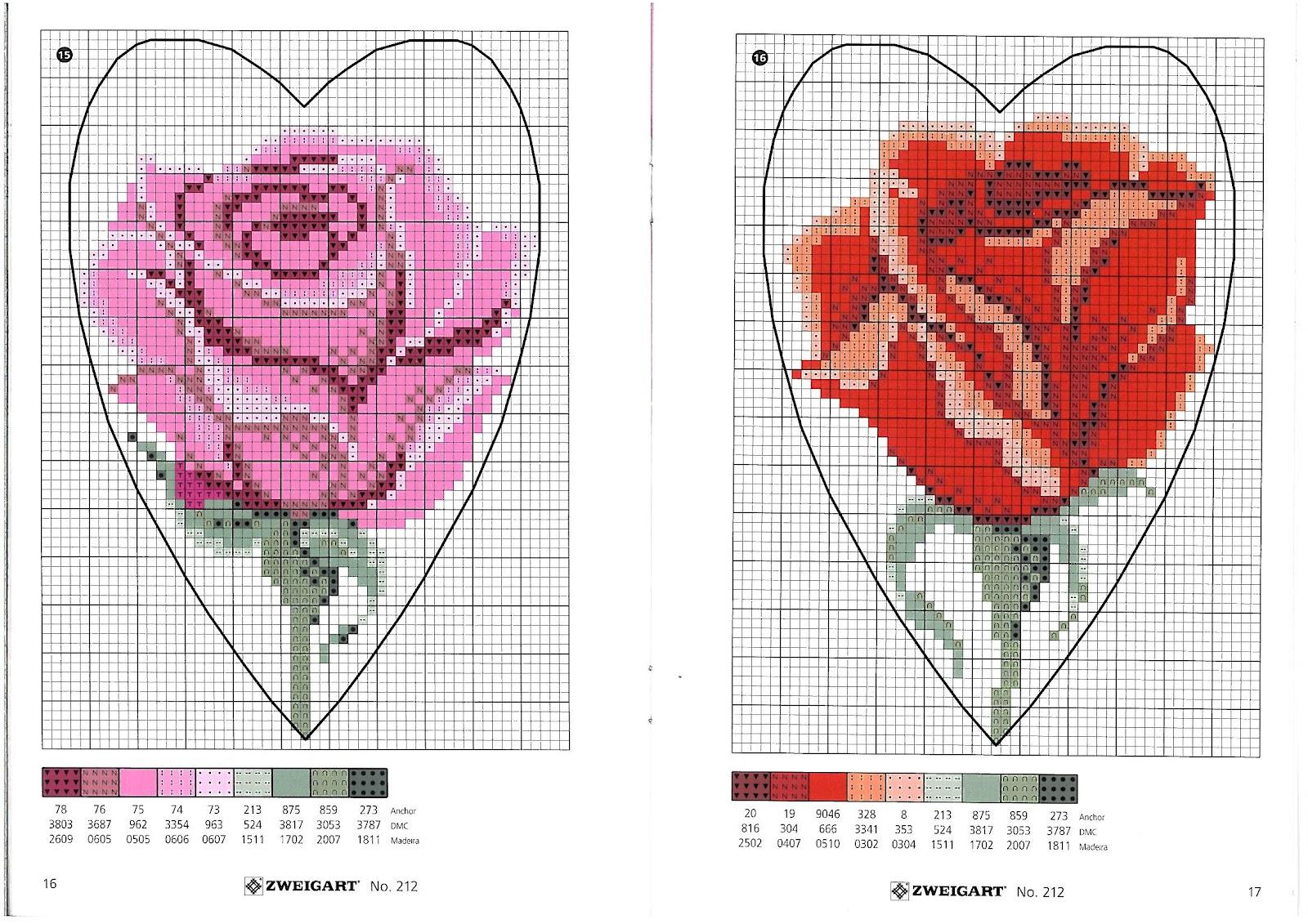 Ricamo Design Rose, Rose, ricamo a punto croce ricamo fiori rose (21)