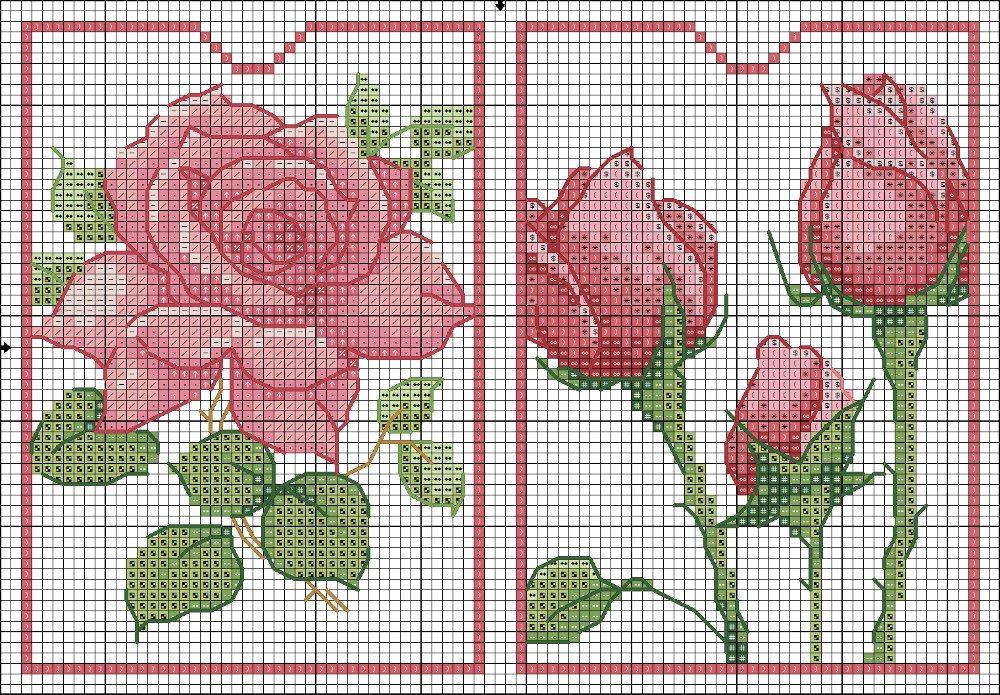 Ricamo Design Rose, Rose, ricamo a punto croce ricamo fiori rose (22)