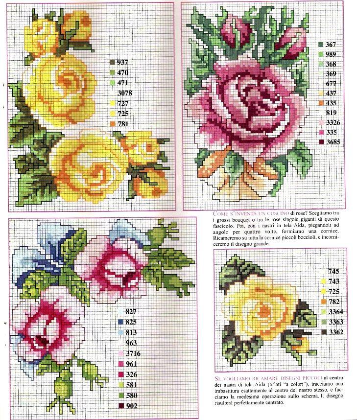 Ricamo Design Rose, Rose, ricamo a punto croce ricamo fiori rose (29)