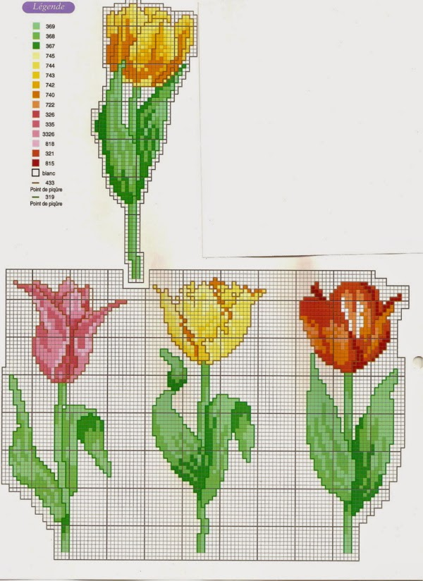schema gratis tulipani a punto croce (1)