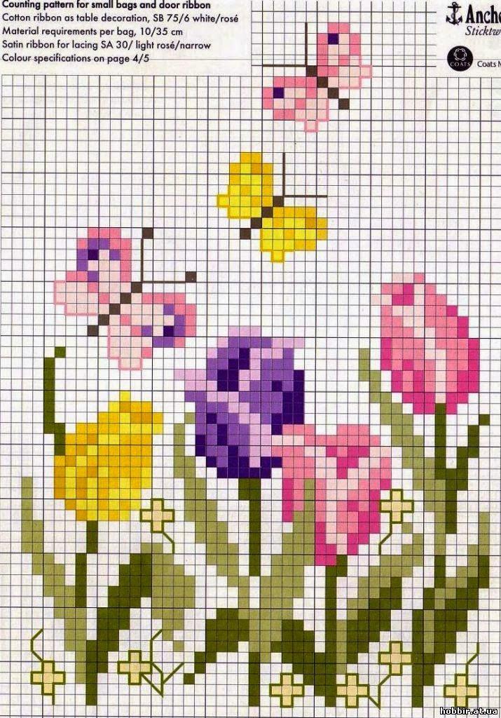 schema gratis tulipani a punto croce (2)