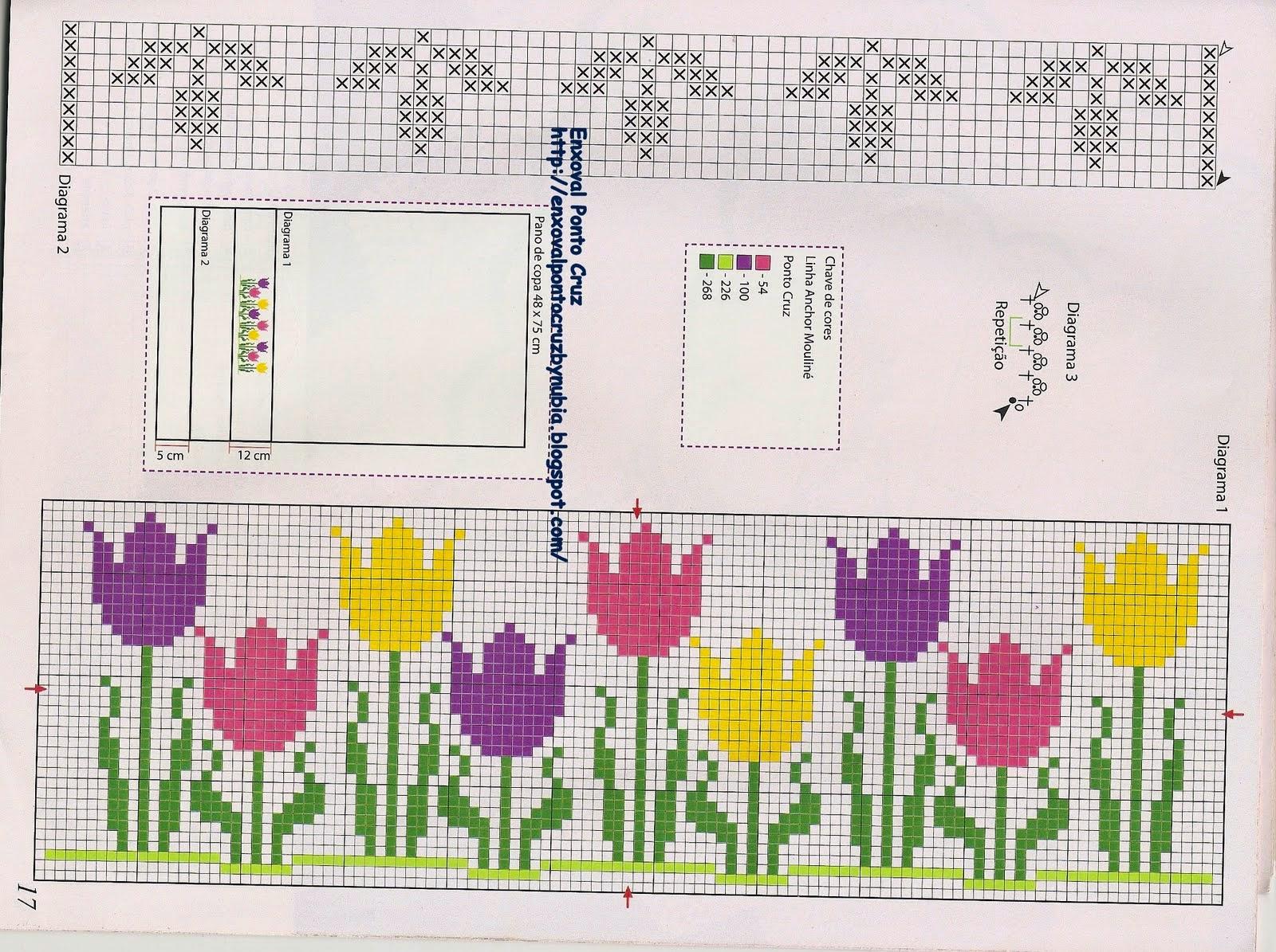 schema gratis tulipani a punto croce (3)