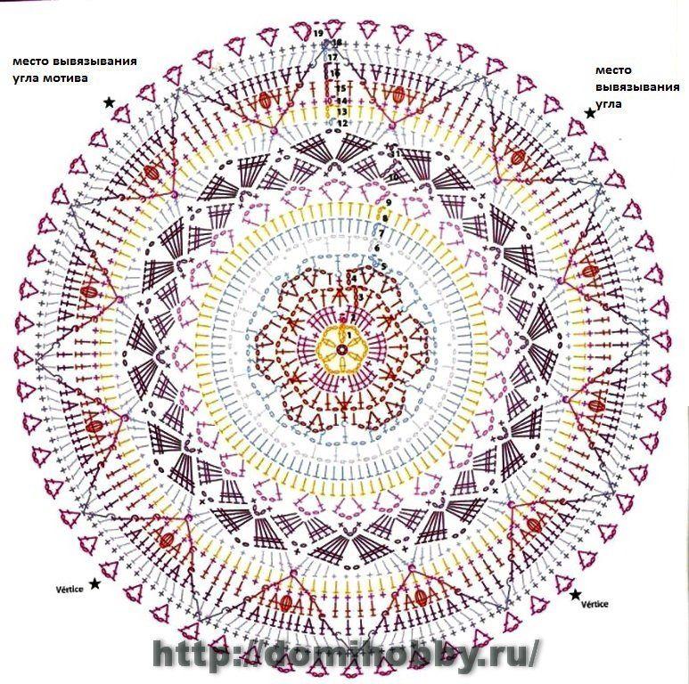 I mandala all'uncinetto hanno una lavorazione in tondo, dal centro verso l'esterno e danno come risultato delle creazioni singolari e coloratissime- schema mandala uncinetto (3)