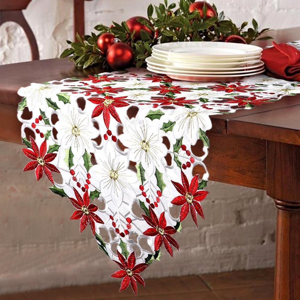 Runner da Tavola Natalizia 176cm x 38cm Agrifoglio e Decorazioni per la Tavola di Natale Rosso e Bianco