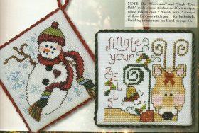 schema punto croce presine di natale con pupazzo di neve ela renna di babbo natale (2)