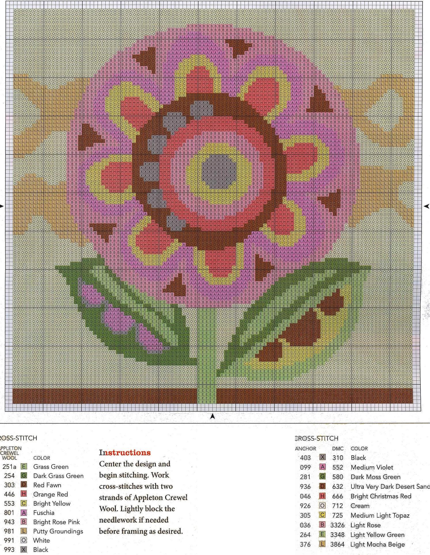 quadro a punto croce con fiore (1)