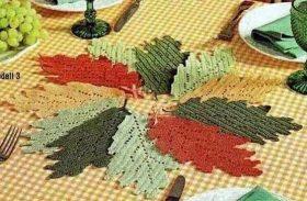schema crochet foglie