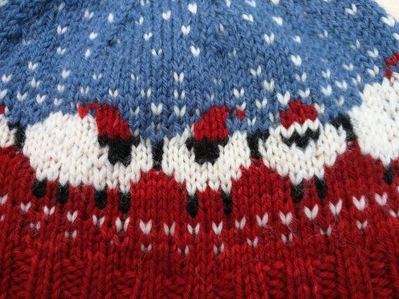 berretta invernale ai ferri a tema neve (1)