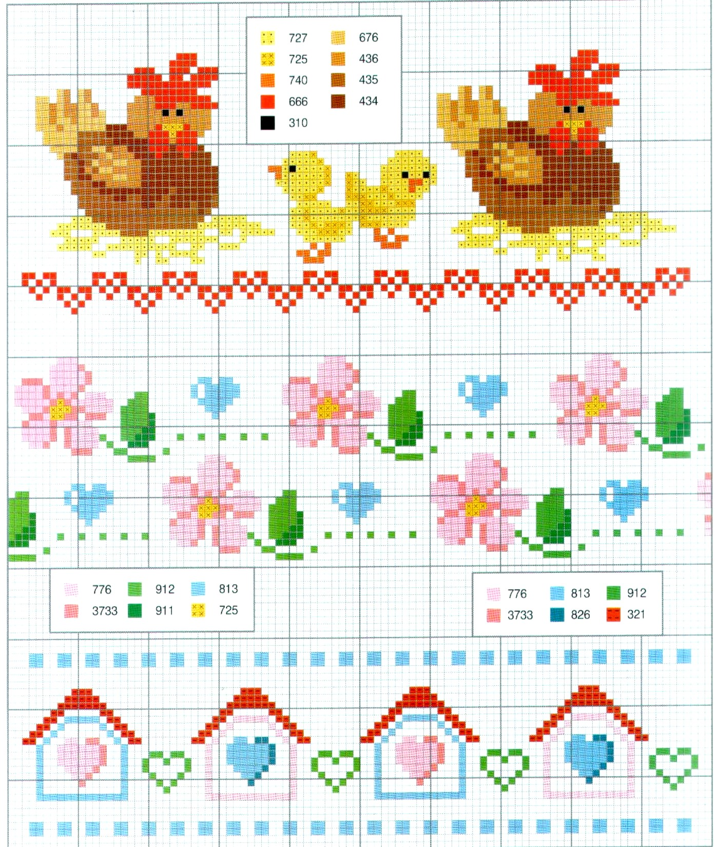 scema a punto croce per strofinacci con galline, polli e pulcini (1)