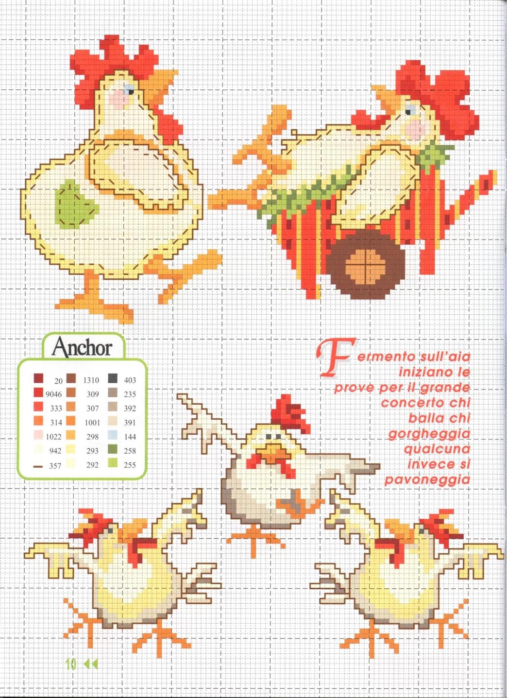 scema a punto croce per strofinacci con galline, polli e pulcini (4)