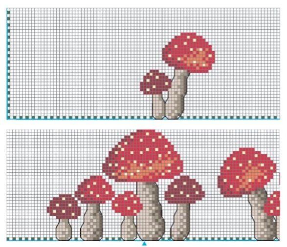 schema punto croce tovaglietta con funghetti rossi (2)