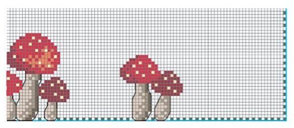 schema punto croce tovaglietta con funghetti rossi (3)
