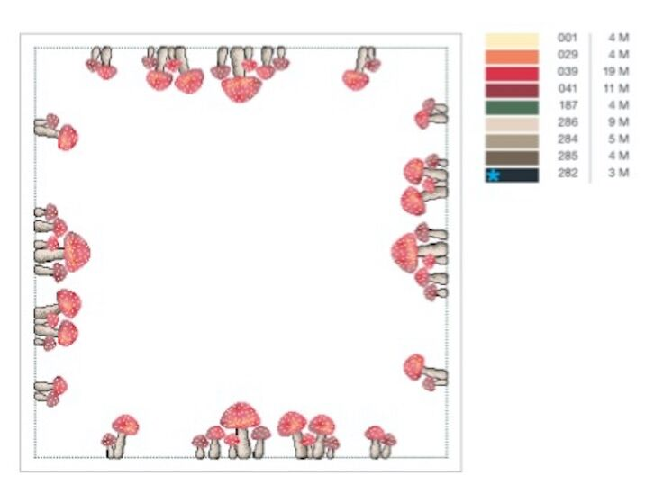schema punto croce con funghi